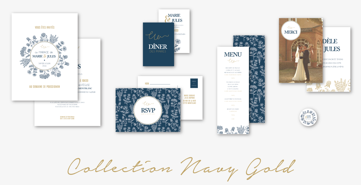 collection faire-part mariage navy gold minimaliste