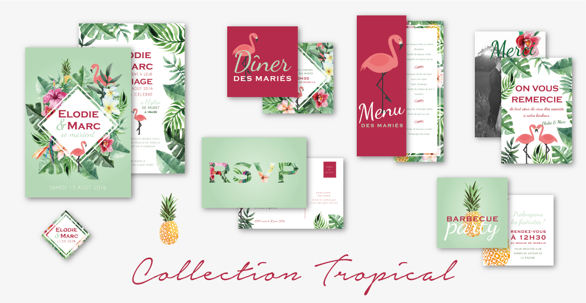 collection faire-part mariage tropical flamant rose ananas