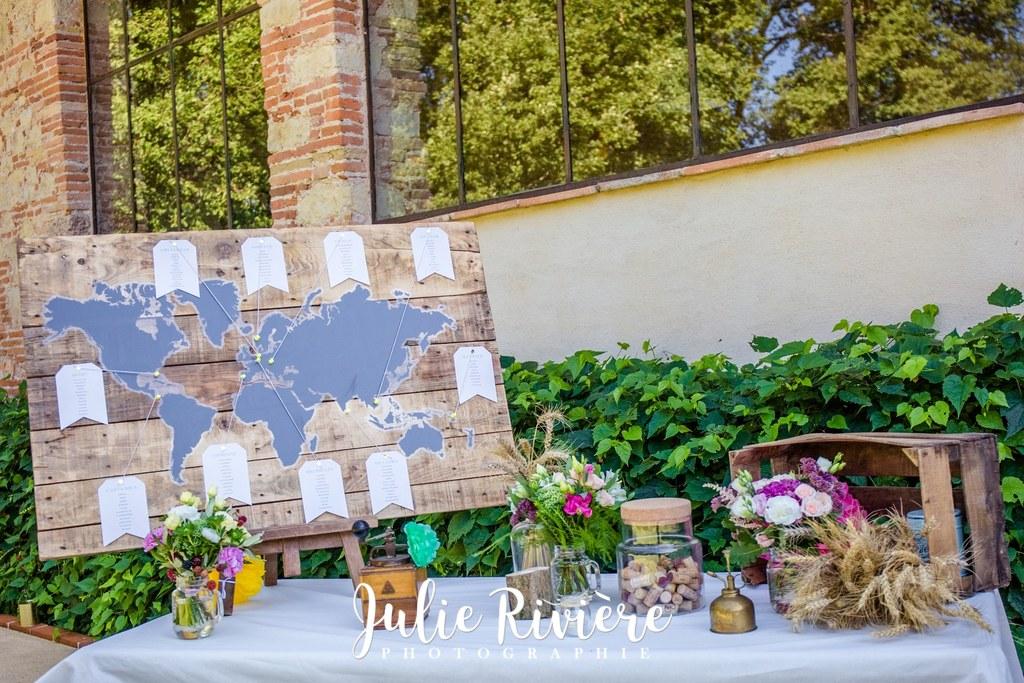 Décoration mariage Muret Toulouse thème voyage