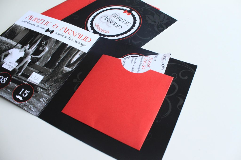 faire part noir et rouge puzzle le comptoir du bonheur by vincelie. Black Bedroom Furniture Sets. Home Design Ideas
