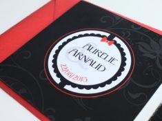 Faire-part Noir et rouge puzzle