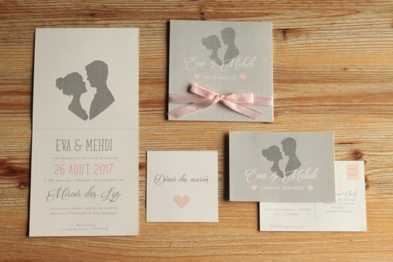 Faire-part rose et gris profils des mariés