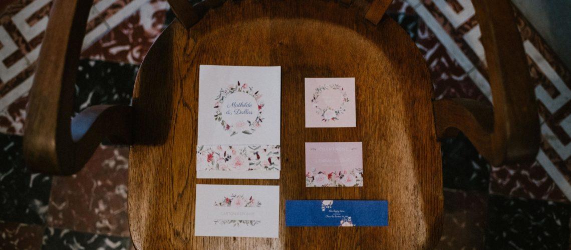 Faire-part de mariage champêtre Faire-part floral fleurs rose bleu Toulouse Muret