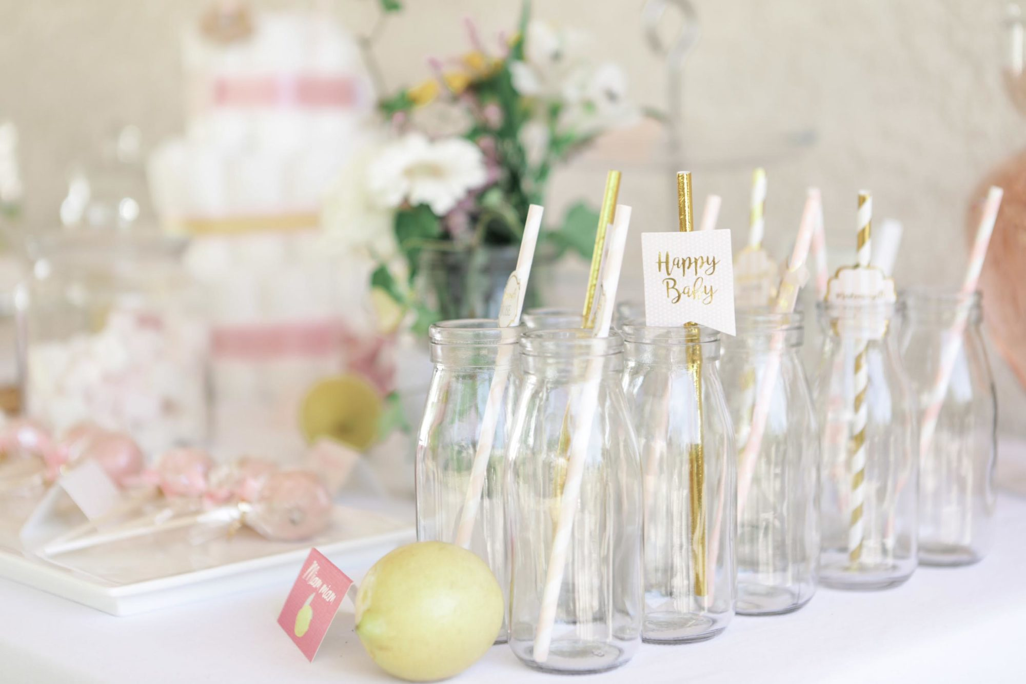 Baby-shower fille rose et citron