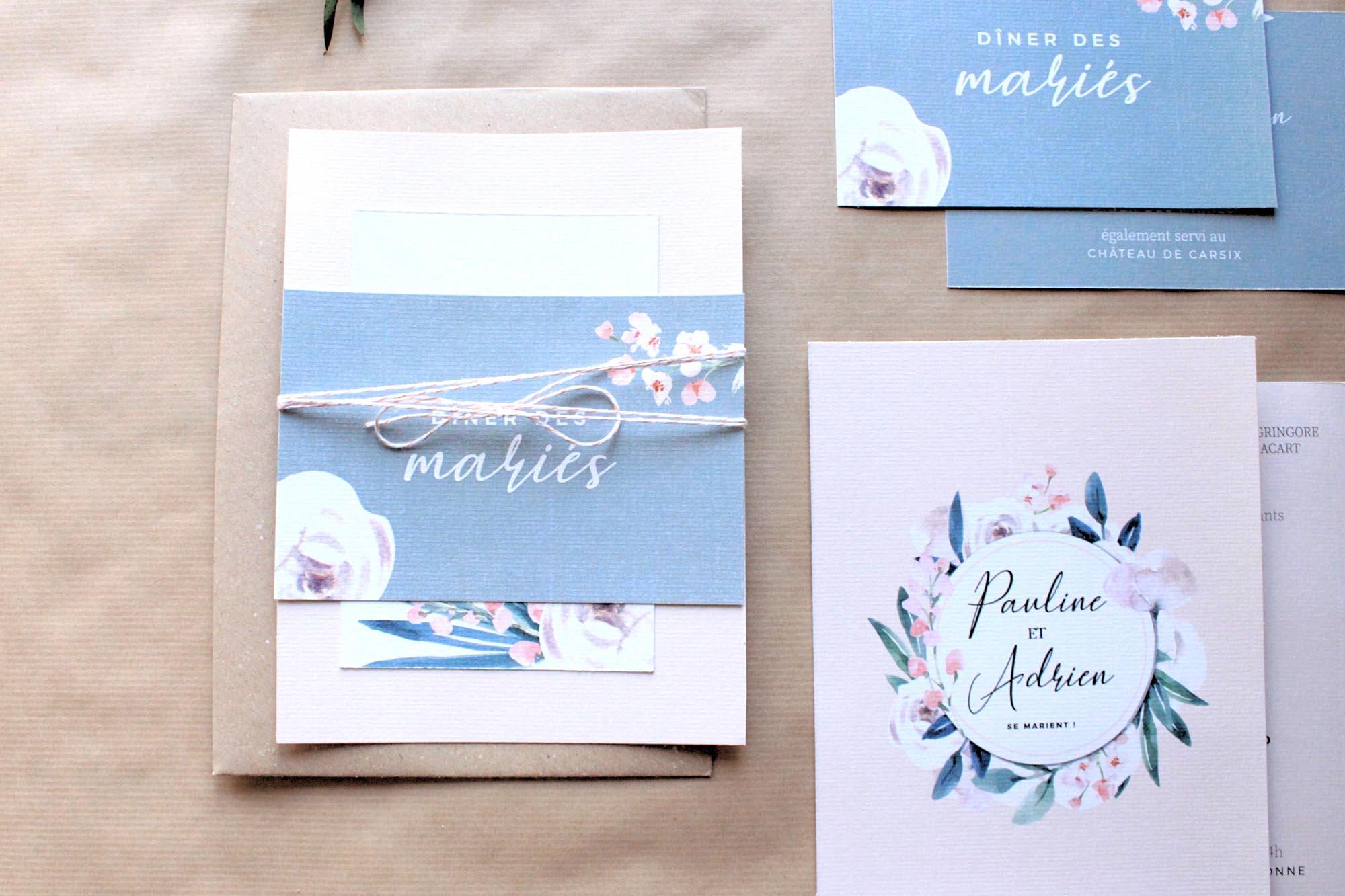 Faire-part mariage floral fleurs