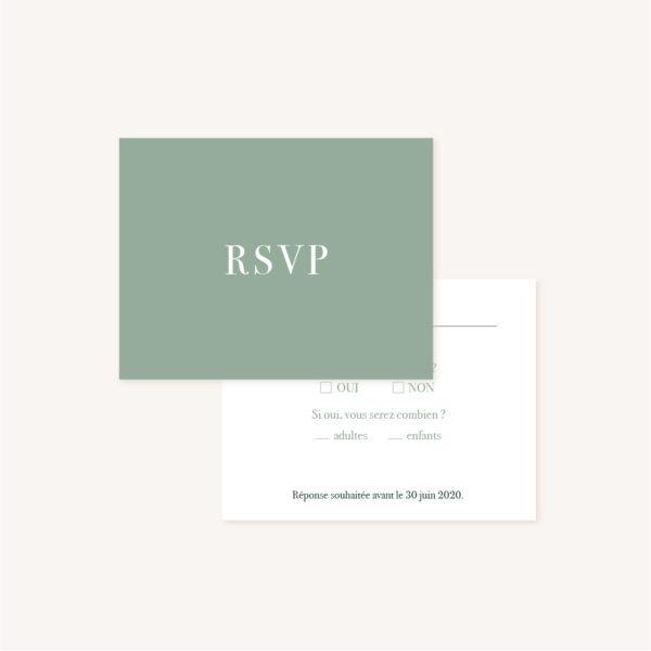 RSVP faire-part vert minimaliste végétal nature faire-part mariage