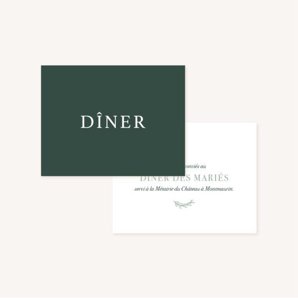 Carton dîner faire-part vert minimaliste végétal nature faire-part mariage