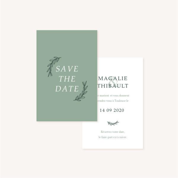 Save the date vert minimaliste végétal nature faire-part mariage