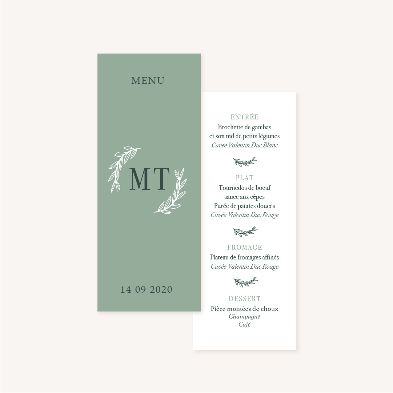 Menu vert minimaliste végétal nature faire-part mariage