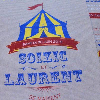 Faire-part dr mariage cirque thème cirque chapiteau de cirque