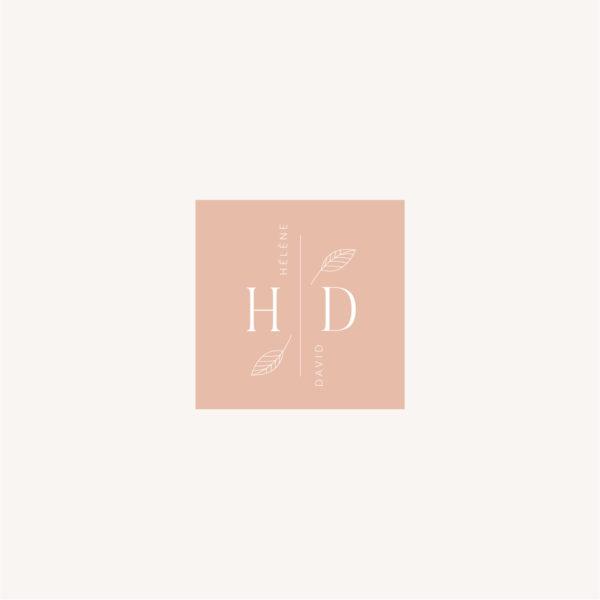 Étiquette initiales personnalisé mariage Terracotta brique blush