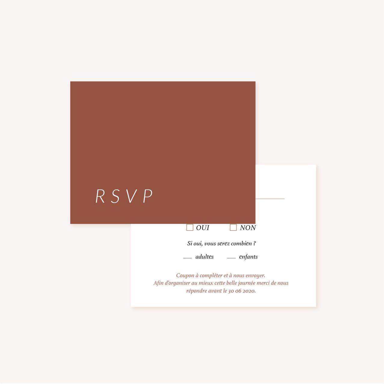 RSVP mariage Terracotta brique blush