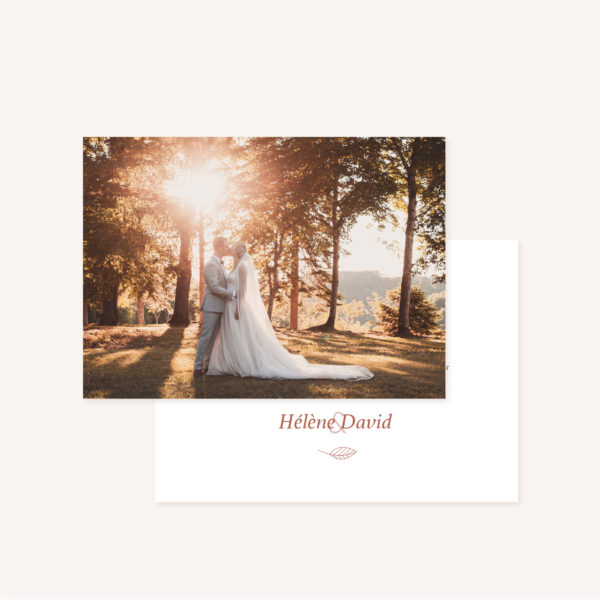 Remerciements mariage Terracotta brique blush