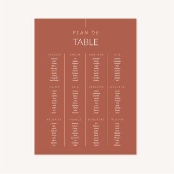 Panneau plan de tale mariage terracotta plexiglass