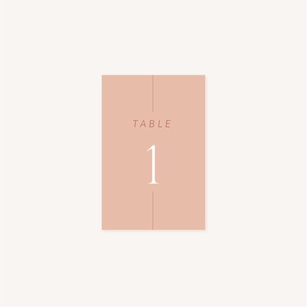 Numéro de table mariage Terracotta brique blush