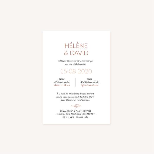 Faire-part mariage Terracotta brique blush