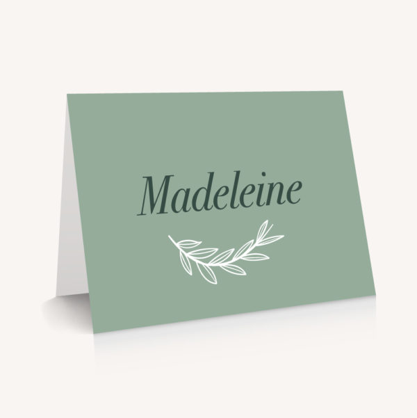 Marque-place mariage minimaliste vert mariage green