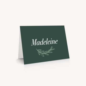 Marque-place mariage minimaliste vert mariage green