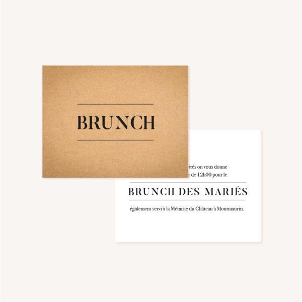 Carton brunch faire-part mariage industriel kraft ardoise mariage industriel
