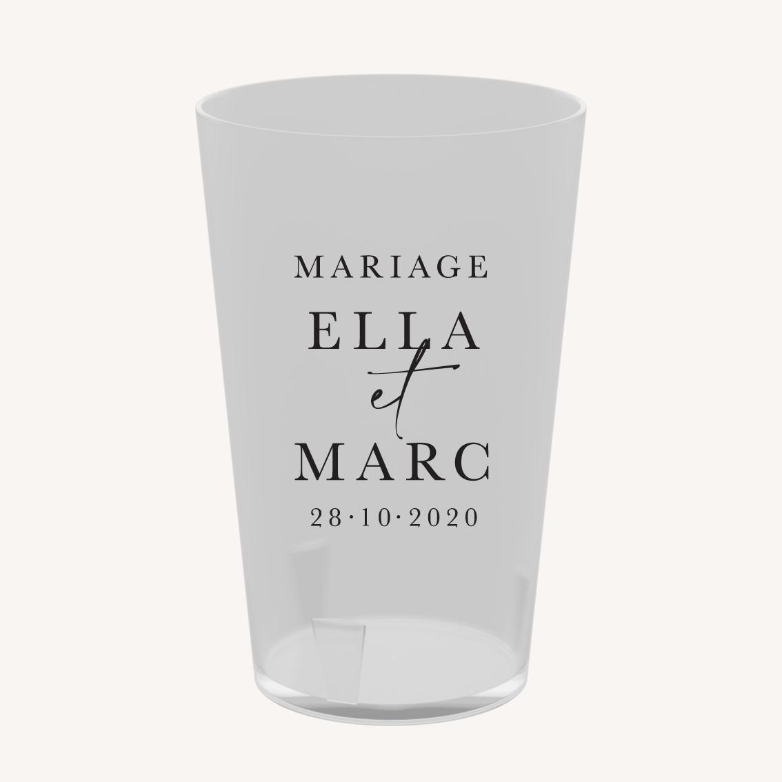 Gobelet réutilisable éco-cup personnalisé mariage élégant chic romantic neutral épuré bordeaux rose nude blanc