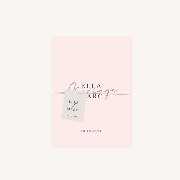 Étiquette papier faire-part mariage élégant chic romantic neutral épuré bordeaux rose nude blanc