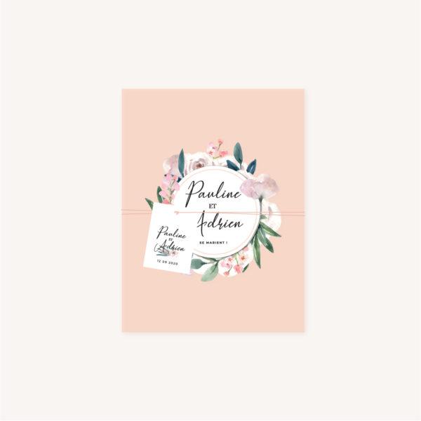 Étiquette Faire-part mariage floral fleurs jardin anglais