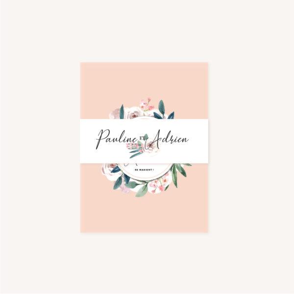 Bandeau Faire-part mariage floral fleurs jardin anglais