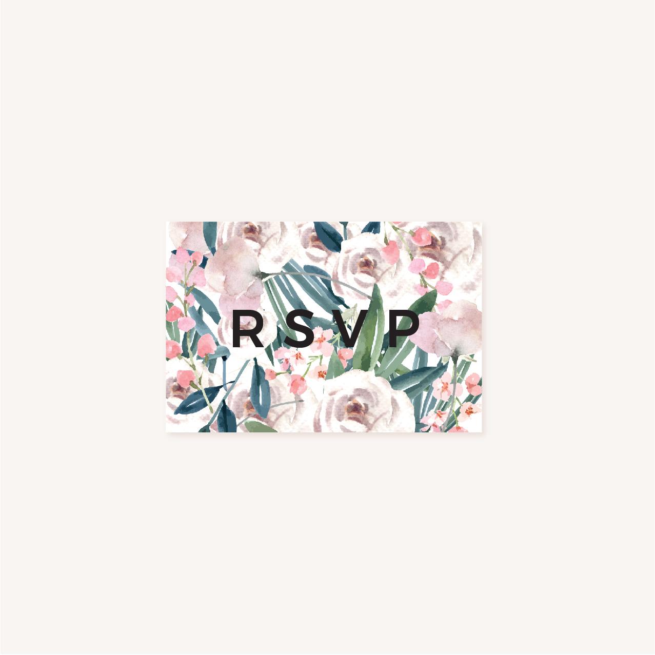 RSVP Faire-part mariage floral fleurs jardin anglais