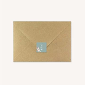Enveloppe étiquette adhésive mariage fleurs jardin anglais