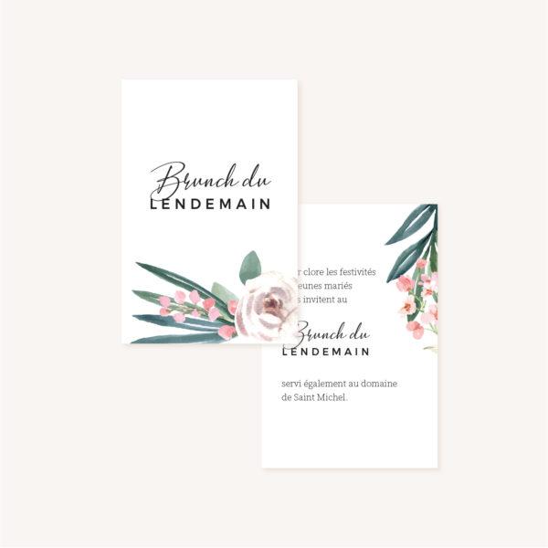 Carton brunch Faire-part mariage floral fleurs jardin anglais