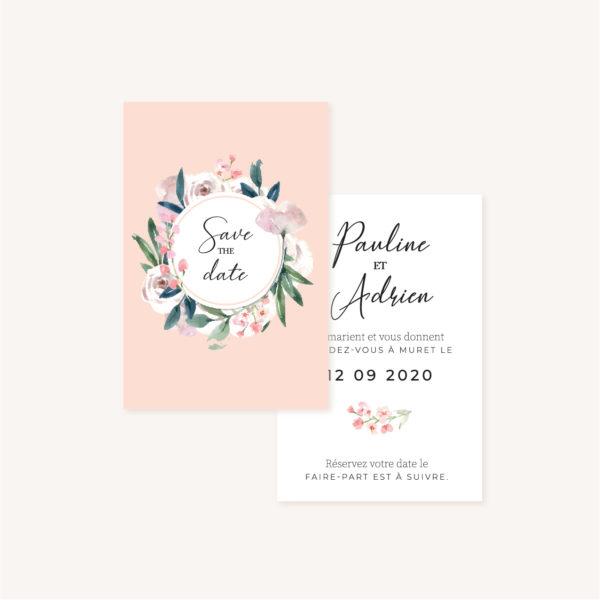 Save the date mariage fleurs jardin anglais