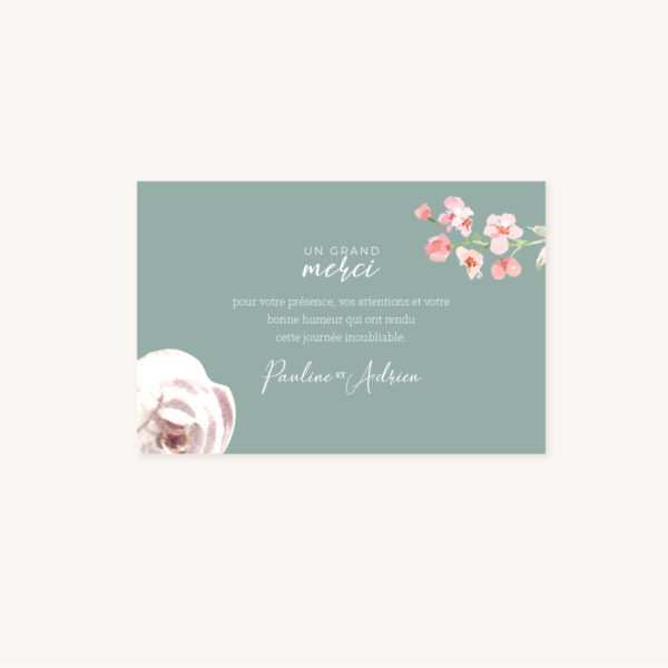 Remerciements Faire-part mariage floral fleurs jardin anglais