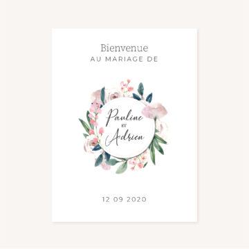 Panneau bienvenue accueil mariage fleurs jardin anglais