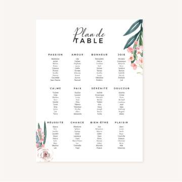 Panneau plan de table mariage fleurs jardin anglais