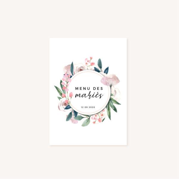 Menu mariage fleurs jardin anglais