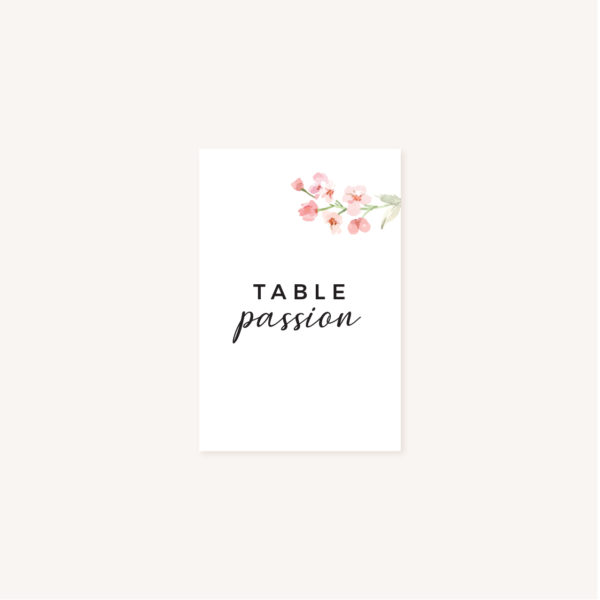 Carton nom de table mariage fleurs jardin anglais