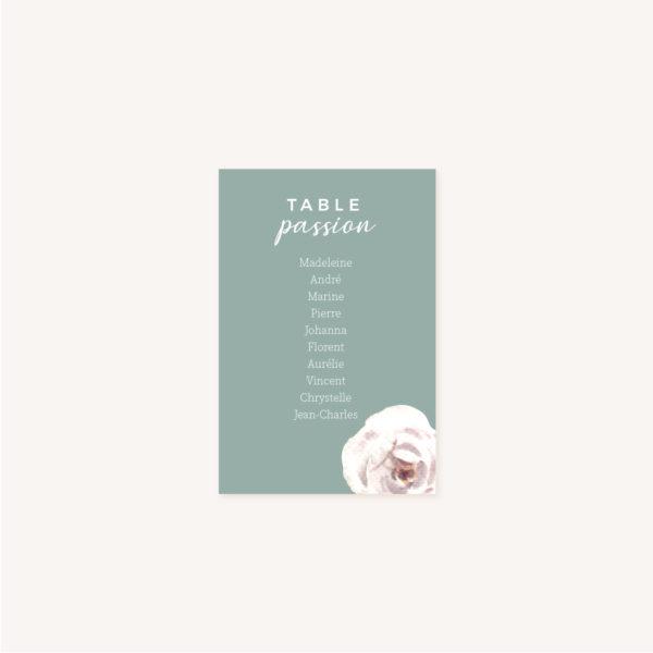 Carton plan de table mariage fleurs jardin anglais