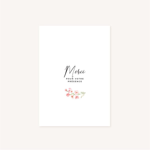 Livret de cérémonie mariage fleurs jardin anglais