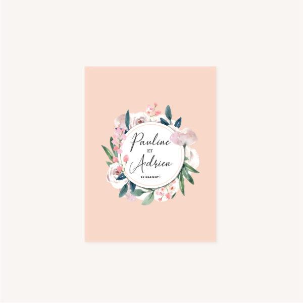 Faire-part mariage floral fleurs jardin anglais