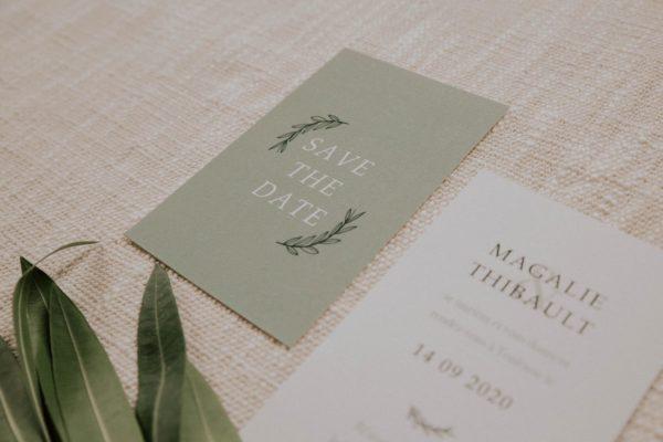 Save the date mariage Green Chic vert végétal épuré mariage végétal blanc