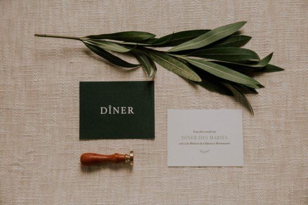 Carton dîner mariage Green Chic vert végétal épuré mariage végétal blanc
