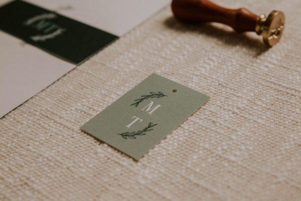 Étiquette faire-part mariage Green Chic vert végétal épuré mariage végétal blanc