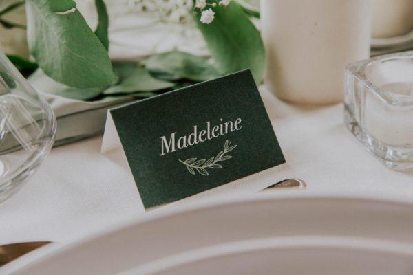 Marque-place prénom étiquette mariage Green Chic vert végétal épuré mariage végétal blanc