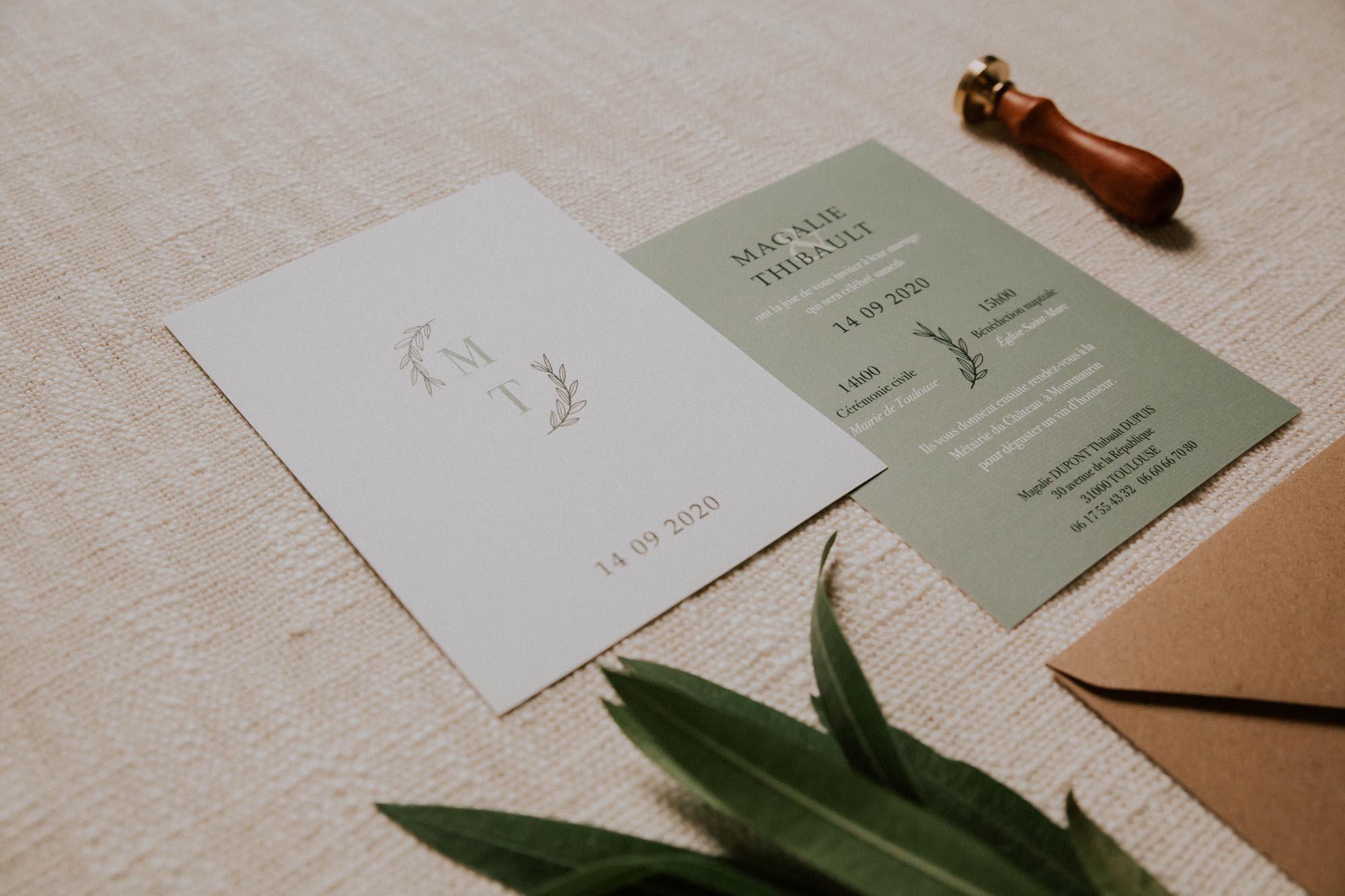 Faire-part mariage Green Chic vert végétal épuré mariage végétal blanc