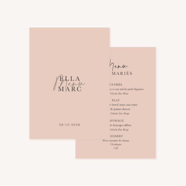 Menu mariage élégant chic romantic neutral épuré bordeaux rose nude blanc