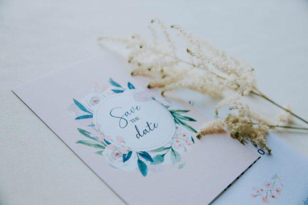Faire-part mariage floral fleurs pastel jardin anglais