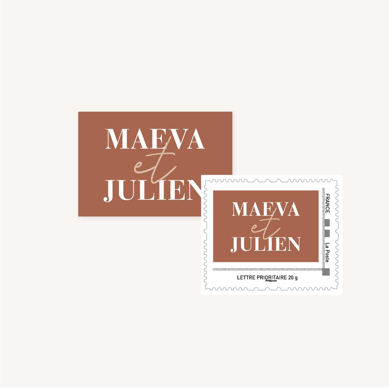 timbre personnalisé mariage abstrait boho sahara couleur sable terracotta beige désert