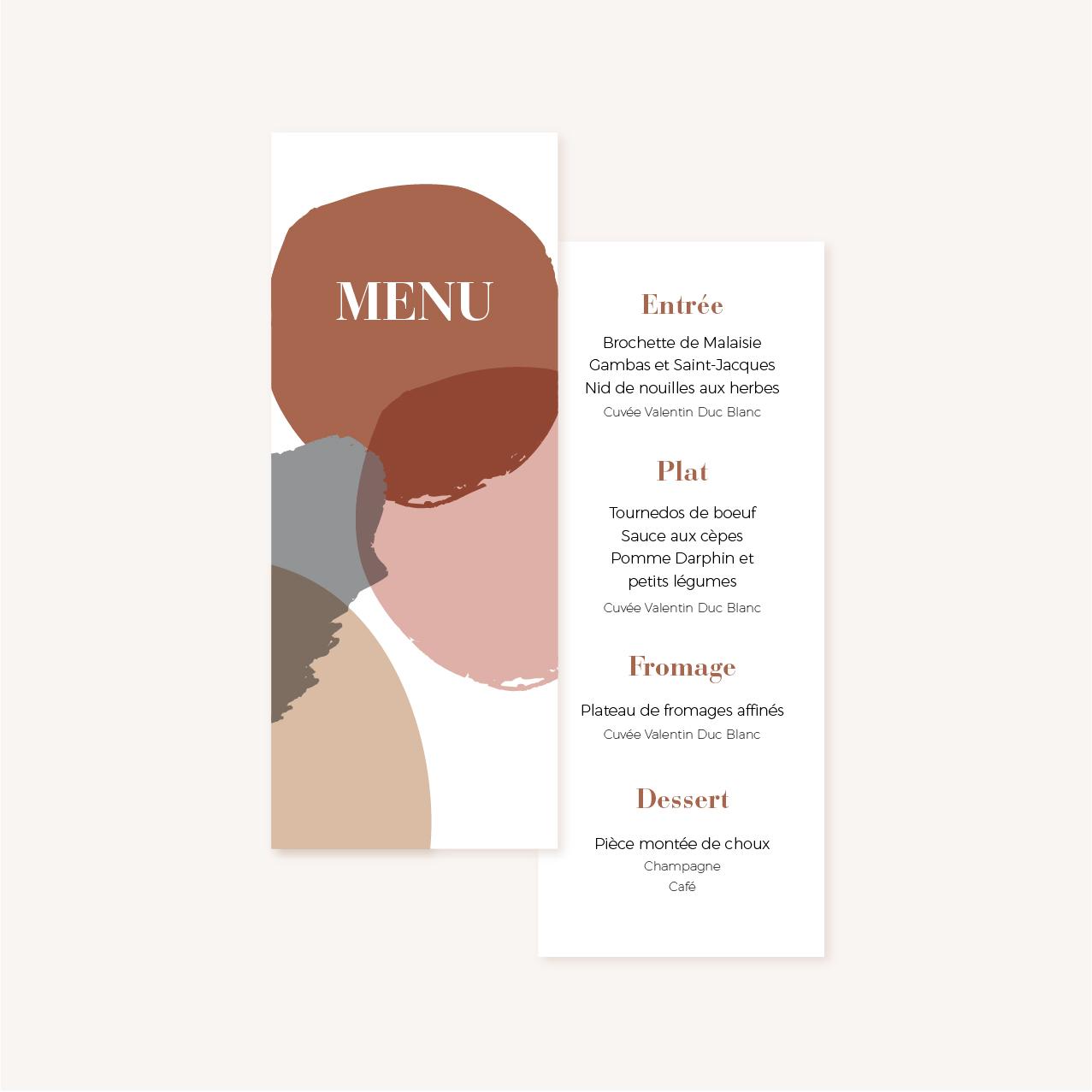 menu individuel mariage abstrait boho sahara couleur sable terracotta beige désert