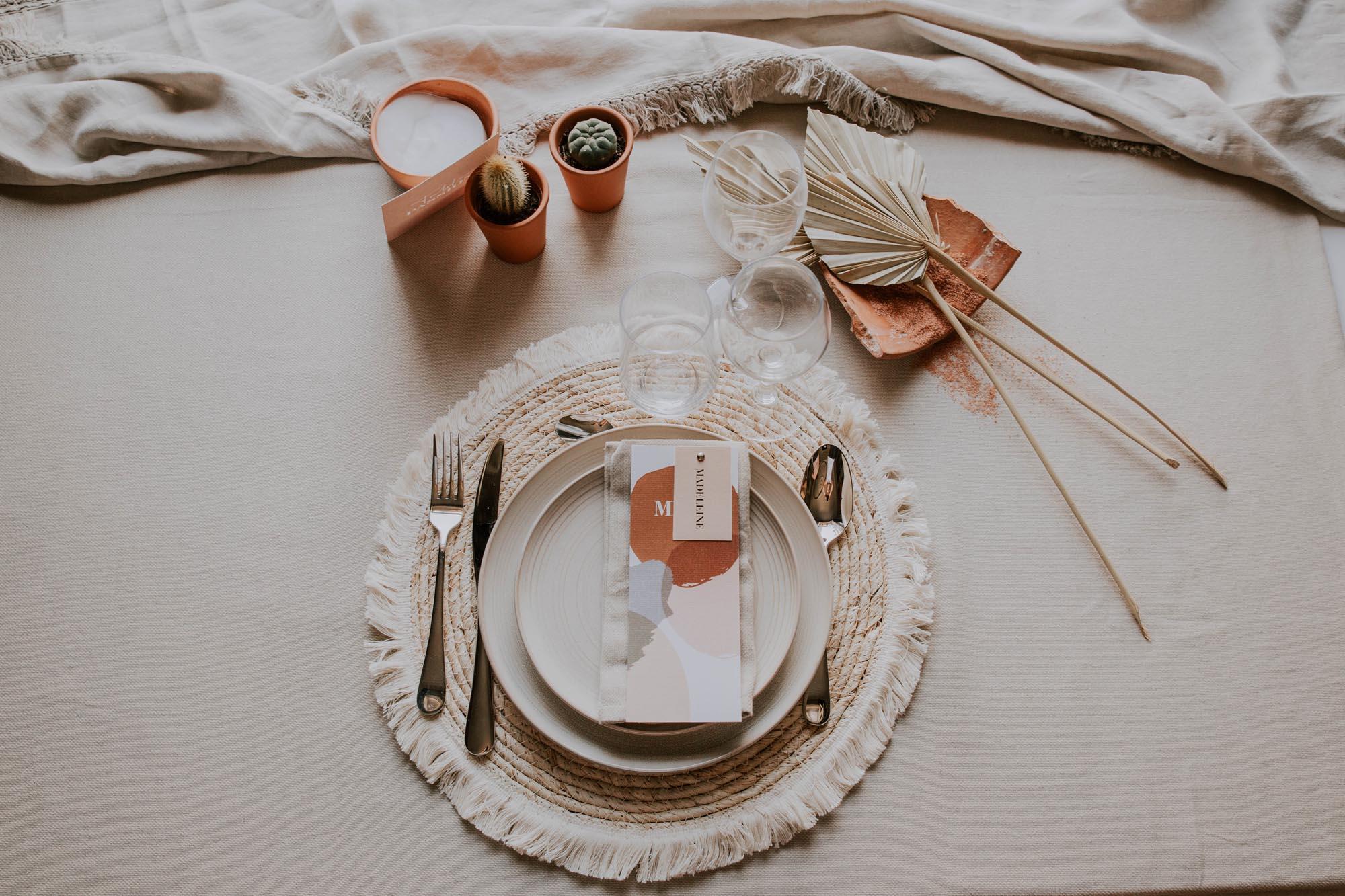 Faire-part mariage boho sahara couleur sable terracotta beige desert