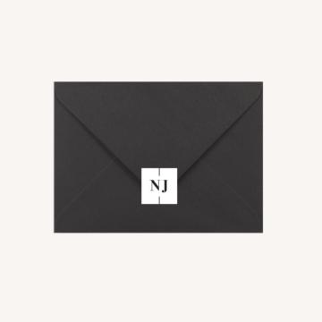 Étiquette adhésive enveloppe noire mariage papeterie épuré noir blanc neutre unisexe élégant